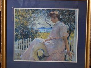 Eleanor   lithograph   Frank Weston Benson 1907   Gold Tone Wood Frame   32  x 36