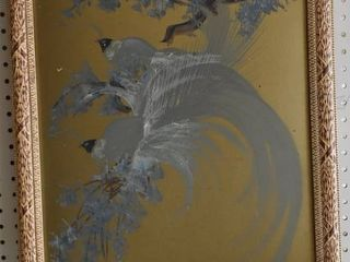 Birds of Paradise   Acrylic on Gold Board   Wood and Plaster Decorative Frame   18 5  x 23