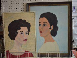 lot of 2 Portraits   Tempera on Canvas   J  Johnson 1967   Vintage Wood Frames   13  x 18 5  18  x 22 25