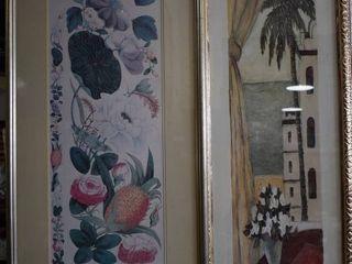 lot of 2 Tall Botanical Themed   Prints   Gold Tone Wood Frames   18 5  x 25 5  14  x 37 5