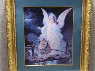 Guardian Angel   Print   lindberg Heilige Schutzengel   Gold Frame   27  x 31
