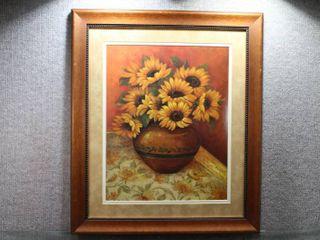 Tuscan Sunflowers in Vase   Print   Pamela Gladding   Wood Frame   24  x 28