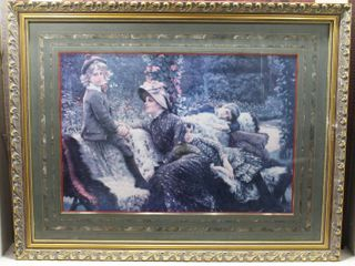 Garden Bench   Print   James Jacques Joseph Tissot   Gold Tone Wood Frame   32 5  x 42