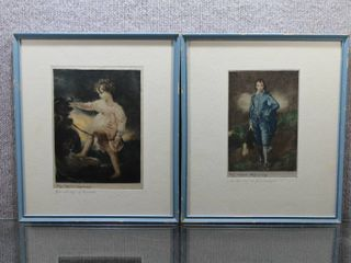 lot of 2  Girl with Dog  and  Blue Boy    Engraving on Silk   T  lawrence  Gainsborough   Blue Frames   12 5  x 14 75