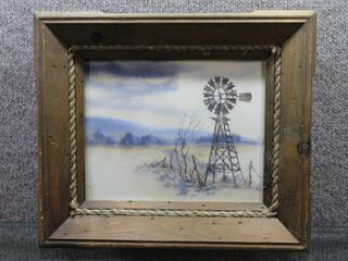 Windmill   Watercolor   Hartmann   Barnwood Frame   12 5  x 14 5