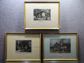 lot of 3 Daily life   Intaglio Prints   Isidore laurent Deroy   Gold Tone Wood Frames   11 5  x 15