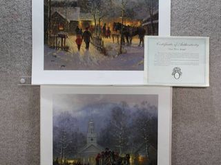 lot of 2 Christmas in the Village  and Ties That Bind   Special Edition Art Print   G  Harvey   No Frame   26  x 22