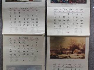 lof of 4 Travelers Insurance Co    Advertising Calendar   Currier   Ives   No Frame   22  x 16