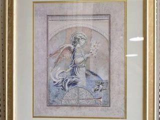 Angel Messenger   Print   S  Brown   Gold Foil Frame   25 5  x 31 5