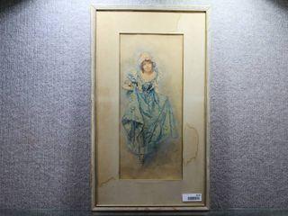 Woman in Blue Dress   Watercolor   Irene Underwood   Grey Wood Frame   28  x 16