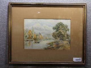 Autumn River   Watercolor   Gold Tone Wood Frames   19 5  x 24 5