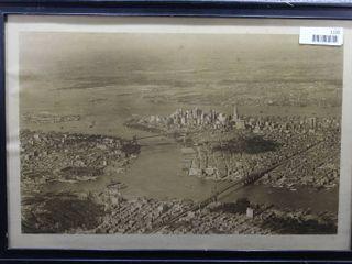 Manhattan Island New York   Photograph   Fairchild Aerial Camera Corp    Black wood frame   16 5  x 23 75