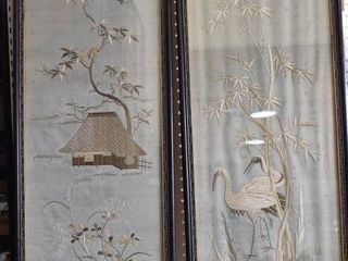 Crane and Cottage   Silk Embroidered Panel   Vintage 1962   Pair Wood Frames   14 25  x 37 5
