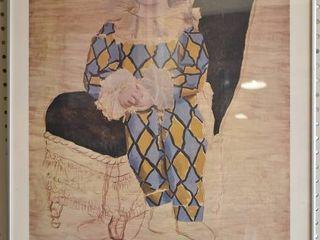 Paul en Arlequin   1924   lithograph   Pablo PICASSO   Metal Frame   21  x 30