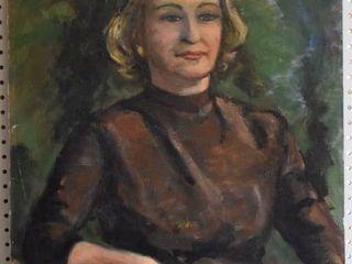 Portrait   Tempera on Board   Unsigned   No Frame   21 75  x 28