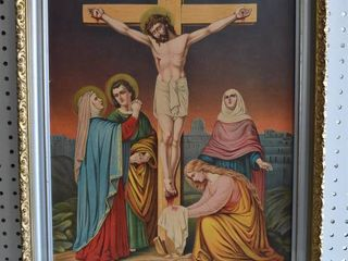Jesus Dies on the Cross   Chromolithograph   James lee Co  Chicago   Vintage Silver and Gold tone Frame   19  x 23