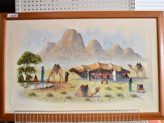 Bedouin Camp   Acrylic on Canvas   Munnim   Wood Frame   26 5  x 41