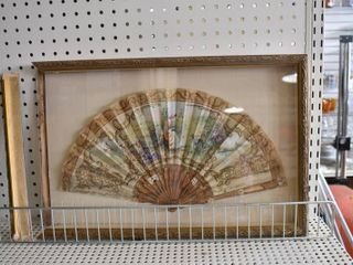 Woman and Greyhound   Hand Painted French Silk Fan   Mounted in Gold Tone Wood Shadow Box    13 75  x 27 5  x 1 75