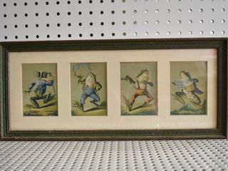 Set of 4 Frog   lithograph Trade Cards   Haddock s Cards   Vintage Green and Gold Frame   17 25  x 7 5