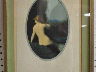Bathing Woman   lithograph   Victorian Era   Gold Tone Wood Frame   12 25  x 19