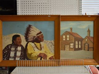 lot of 2 Folk Art   Tempera on Board   W  l  Thomas   Vintage Wood Frames   22 75  x 28 5