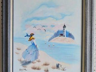 lighthouse   Acrylic on Canvas   Doyle Dyer   Silver tone Molded Wood Frame   21  x 25 25