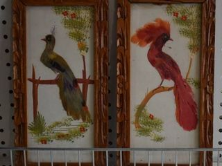 Pair of Folk Art Birds   Dyed Feathers and Tempra   Made in Mexico   Vintage Wood Frames   6 5  x 12 75