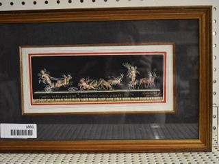 Pompeii Chariot Race and Victorious House of Vettii   Gouache   Giovanni Gallo 1985   Gold Tone Wood Frame   9 75  x 15 75