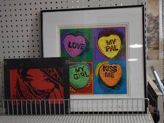 lot of 2 Pop Art   Prints   Mark ChickeneII   Metal   10 5  x 12 5  18 75  x 19