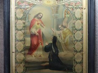 Jesus the Messenger   Chromolithograph   J  Hoover   Son   Original Wood Frame   23 5  x 27 5  x 2