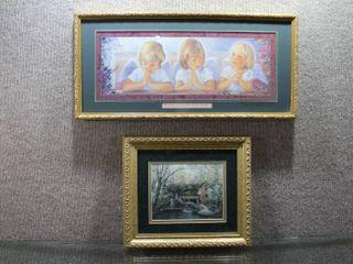 lot of 2 Small Decor   Prints   Gold Tone Frame   11  x 12 5  10  x 21
