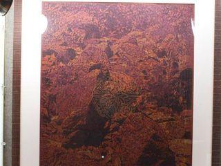 Celtic Knot Red Wilderness   Chalk Pastel Drawing   M  Sweeton 2004   Dark Wood Frame   51  x 43