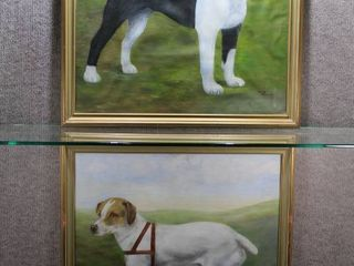 Pair of Dog Portraits   Oil on Canvas   Velda Hoover   Gold Tone Wood Frame   28 5  x 26 5