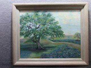 Field of Bluebells   Oil on Canvas   Irene Underwood   Vintage Wood Frame   20  x 24