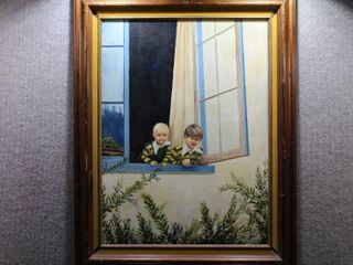 The Greeting   Oil on Canvas   M  Atkins 1978   Vintage Wood Frame   23 5  x 29 5