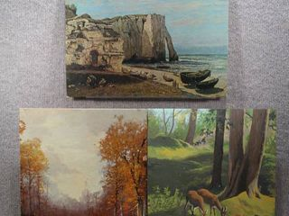lot of 3 Nature   Prints and 1 Paint by Numbers   No Frame   16  x 20