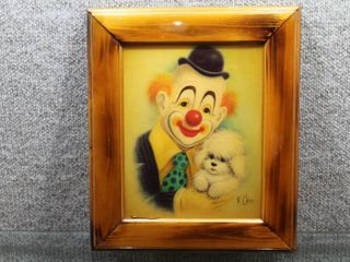 Clown and Puppy   Resin covered Print   K  Chin   Wood Frame   13 5  x 11 5