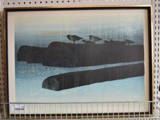 Rain on the River   Silk Screen Print   Elton Bennett   Vintage Wood Frame   19  x 25 75