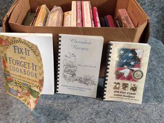 box of several different cookbooks