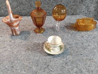 amber glass a glass basket cup and saucer