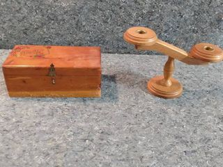 and keepsake box and candle holder also wooden