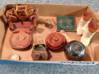flat of small collectibles