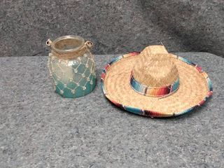 latin American styled hat and candle holder jar