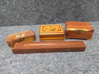 Three Small Jewelry Boxes and an Incense Burner