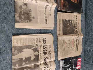 original copies of JFK news and Topeka daily capital and news on lyndon b Johnson in the Topeka capital life magazine about JFK Jr and another magazine for Robert Kennedy