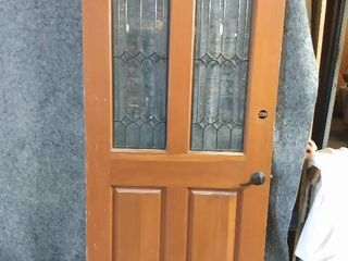 solid core wood door with leaded glass