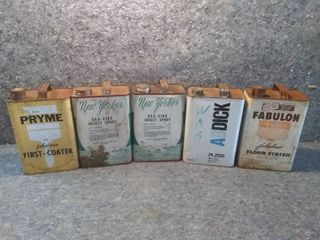 Five Vintage Product Gallon Metal Cans