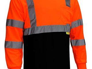 NY BFl8711 High Visibility Class 3 T Shirt with Moisture Wicking Mesh Birdseye  Black Bottom  3X  Orange