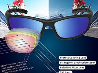 RIVBOS Polarized Sports Sunglasses Driving Sun Glasses Shades for Men Women Tr 90 Unbreakable Frame for Cycling Baseball Running Rb833  833 Black Ice Blue lens