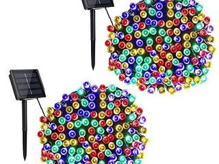 Toodour Solar String lights  2 Packs 72ft 200 lED 8 Modes Outdoor String lights  Waterproof Solar Fairy lights for Garden  Patio  Fence  Holiday  Party  Balcony Decorations  Multicolor